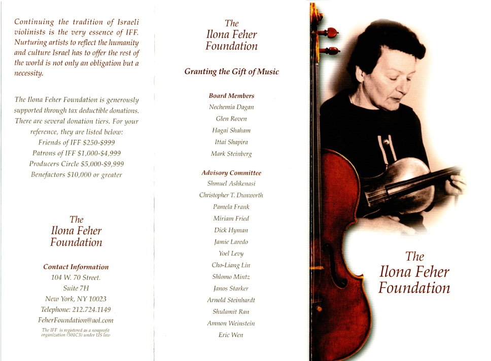 Ilona Feher Foundation Brochure, Page 1